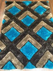 WOVEN RUGS HAND CARVED APPROX 6X4FT 120X170CM GREY-TEAL TOP QUALITY 3D RUGS